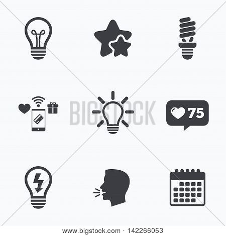Light lamp icons. Fluorescent lamp bulb symbols. Energy saving. Idea and success sign. Flat talking head, calendar icons. Stars, like counter icons. Vector