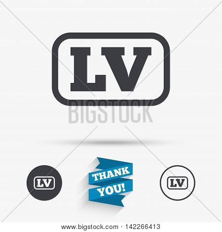 Latvian language sign icon. LV Latvia translation symbol with frame. Flat icons. Buttons with icons. Thank you ribbon. Vector poster