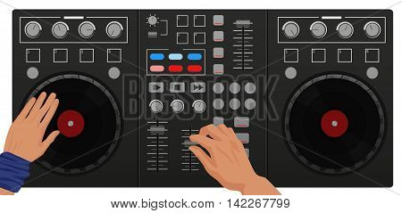 DJ hands playing vinyl. Top view. DJ Interface workspace mixer console turntables. Night club concept
