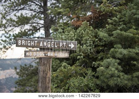 Bright Angel Point trailhead and sign in the Grand Canyon