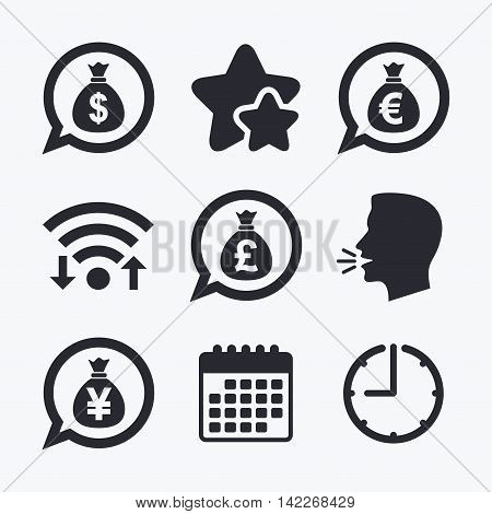 Money bag icons. Dollar, Euro, Pound and Yen speech bubbles symbols. USD, EUR, GBP and JPY currency signs. Wifi internet, favorite stars, calendar and clock. Talking head. Vector