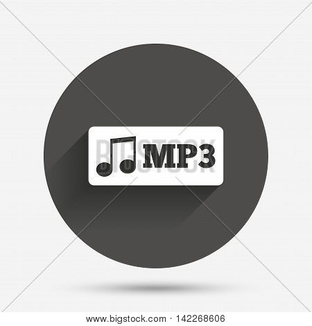 Mp3 music format sign icon. Musical symbol. Circle flat button with shadow. Vector