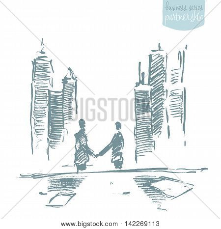 Handshake of businessmen in front of skyscrapers. Success, dealing, partnership. Concept vector illustration, sketch