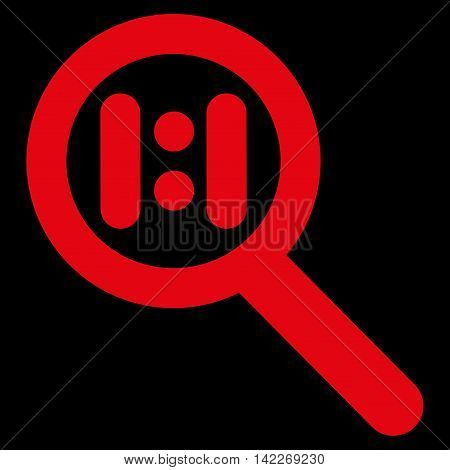 Zoom Actual Scale glyph icon. Style is outline flat icon symbol, red color, black background.