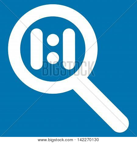 Zoom Actual Scale glyph icon. Style is stroke flat icon symbol, white color, blue background.