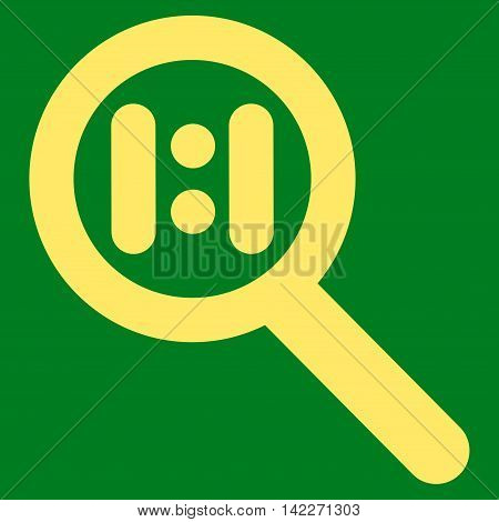 Zoom Actual Scale glyph icon. Style is stroke flat icon symbol, yellow color, green background.