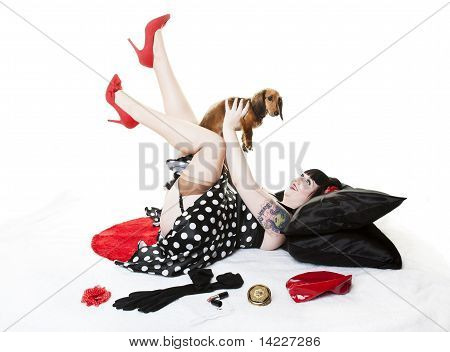 Pinup With Puppy