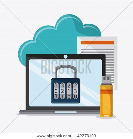 laptop padlock cloud document usb cyber security system protection icon. Colorfull illustration. Vector graphic