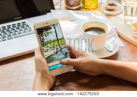 CHIANG MAI THAILAND - MAY 09 2016: Apple iPhone 6 plus Showing Airbnb application on the screen. Airbnb is a website for people to list find and rent lodging.