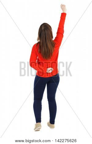 Back view of  woman.  Raised his fist up in victory sign.    Raised his fist up in victory sign.  Rear view people collection.  backside view of person.  Isolated over white background. The girl in