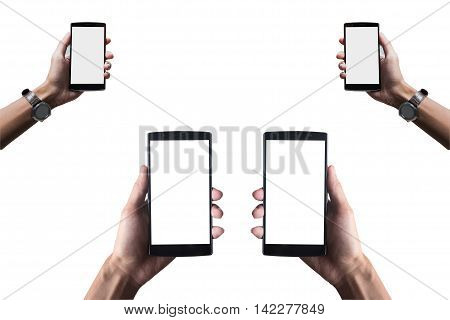 Hand holding smart phone isolated on white background with clipping path.