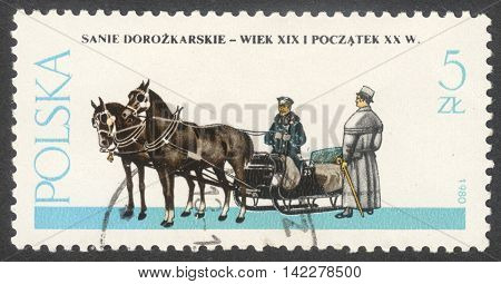 MOSCOW RUSSIA - CIRCA MAY 2016: a post stamp printed in POLAND shows a Sled coach the series