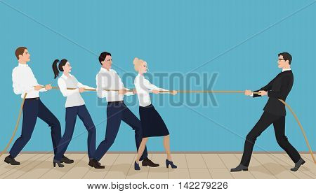 Powerful strong businessman competing with group of businessmen office people team playing tug of war battle