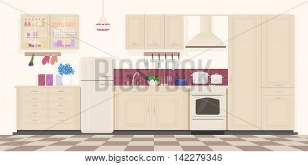 Modern classic vintage kitchen interior with furniture and cooking devices. Cartoon realistic design of kitchen