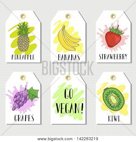 Bright cards with the image of fruit and inscriptions. Raw food, vegan diet.