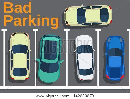 Bad parking. Blocking cars. Cars top view. Vector illustration in flat design