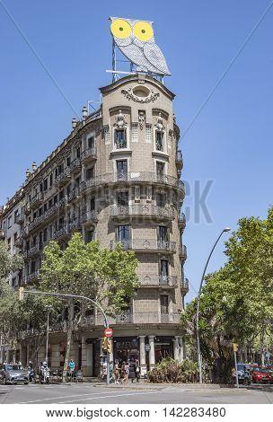 BARCELONA SPAIN - JULY 5 2016: Verdaguer square in Barcelona Spain. Named after the Catalan-language epic poet of the Jacint Verdaguer (1845-1902).