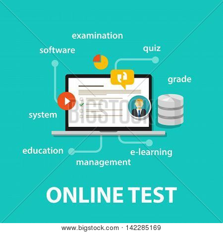online test exams quiz with computer laptop assessment vector