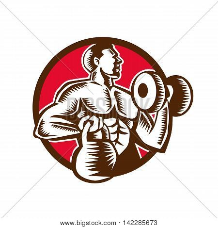 Illustration of an athlete weightlifter lifting kettlebell with one hand and pumping dumbbell on the other hand facing side set inside circle on isolated background done in retro woodcut style. poster