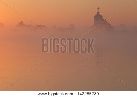 Beautiful sunrise over Church. Ukraine. The christianity