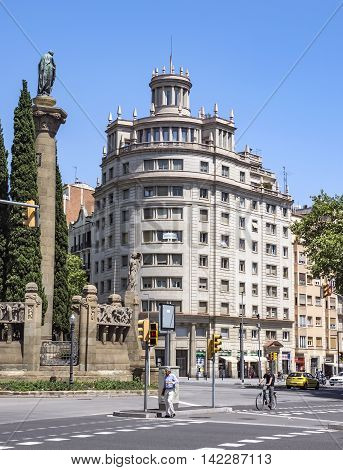 BARCELONA SPAIN - JULY 5 2016: Architecture of Verdaguer square in Barcelona Spain. Named after the Catalan-language epic poet of the Jacint Verdaguer (1845-1902). Monument built in 1912