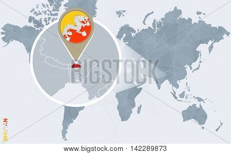 Abstract Blue World Map With Magnified Bhutan.