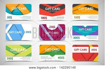 Big set of gift cards of different values. material design. Templates of different colors and shapes. Vector illustration.