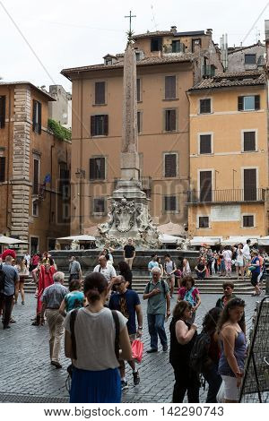 ROME ITALY - JUNE 15 2015:A six-metre obelisk and Fountain of the Pantheon (Fontana del Pantheon) at Piazza della Rotonda .. Rome Italy
