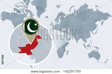 Abstract Blue World Map With Magnified Pakistan.