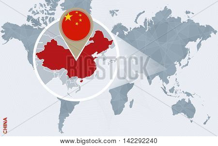 Abstract Blue World Map With Magnified China.