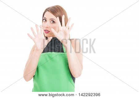 Terrified Young Employee Doing A Rejection Gesture