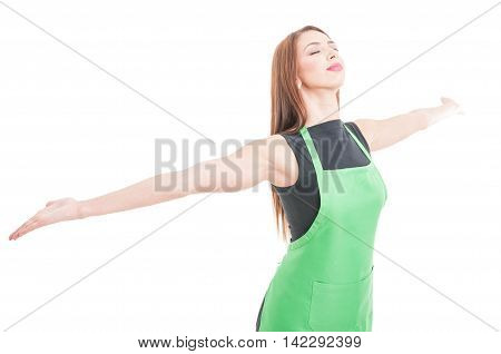 Happy Young Saleswoman Celebrating Victory