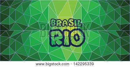 Brasil rio card with text over green background with abstract triangles.
