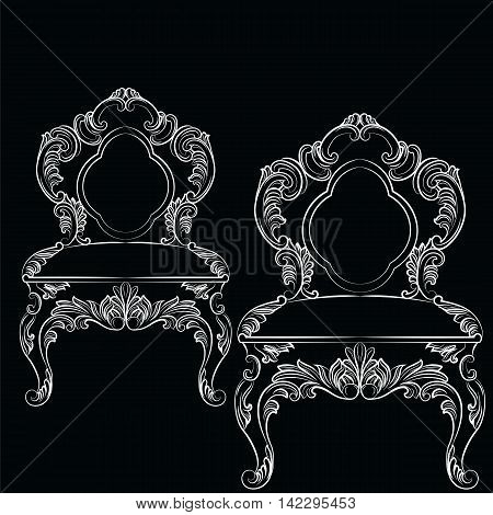 Baroque luxury style chair. Elegant furnishing with luxurious rich ornaments. French Luxury rich carved decoration. Vector Victorian exquisite Style furniture