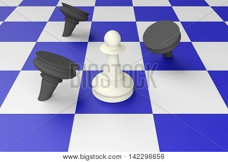 White Pawn Defeating Black Pawns On A Blue Chess Board 3d illustration