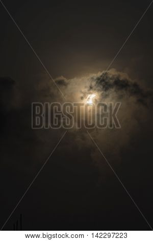 solar eclipse with dark cloud on sky