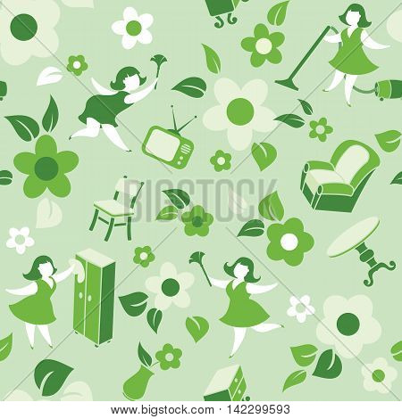 Vector illustration seamless pattern housewife engaged in household chores among household utensils.