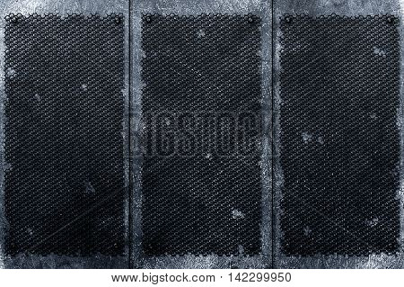 grunge metal background. rivet on black decay grille and metal plate. material design 3d illustration.
