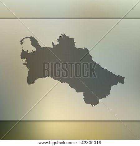 Turkmenistan map on blurred background. Blur background with silhouette of Turkmenistan. Turkmenistan. Turkmenistan silhouette. Turkmenistan vector map. Turkmenistan flag. Blur background. Vector map.