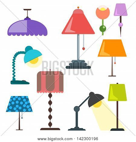 Set of lamps. Furniture and floor lamps and table lamps. Vector illustration lamp light isolated electric interior energy furniture. Floor lamps and table lamps home energy furniture modern equipment.