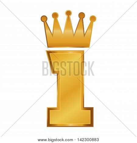 Vector stock of golden number one with crown on top