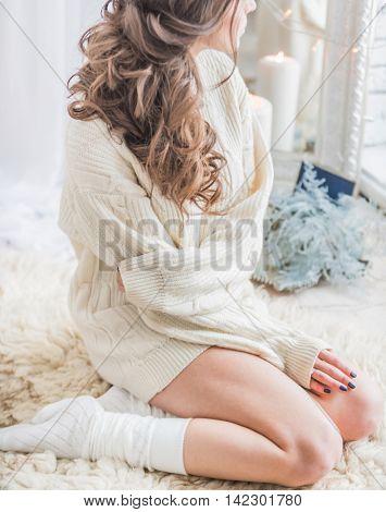 woman in a warm winter sweater