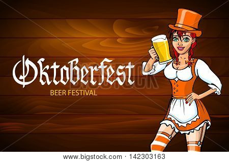 Pretty Young German Oktoberfest Red Woman In A Dirndl Dress With Beer Vector