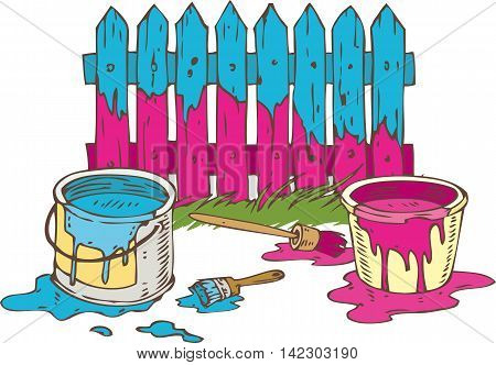 Blue and Pink Wooden Fence with Paintbrush Tin Cans of Paint and Green Grass. Painting Process Isolated on a White