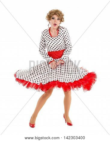 Portrait Drag Queen In Woman Dress Performing
