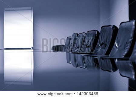 Empty conference room business meeting concept blue toned