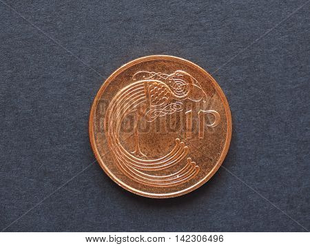 Irish Pound (IEP) 1 penny coin currency of Ireland (IE) poster