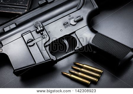 M4A1 assault rifle on black background ,