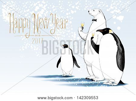 Happy New Year 2017 vector greeting card. Party of penguin polar bear characters drinking glass of champagne funny illustration. Design element with Happy New Year sign hand drawn lettering