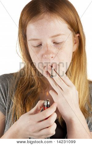 Young Girl Is Smoking Pot Isolated On White